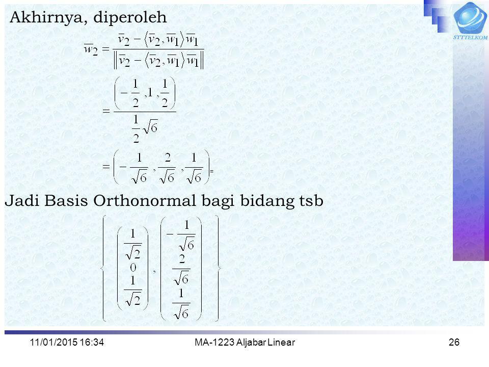 Jadi Basis Orthonormal bagi bidang tsb