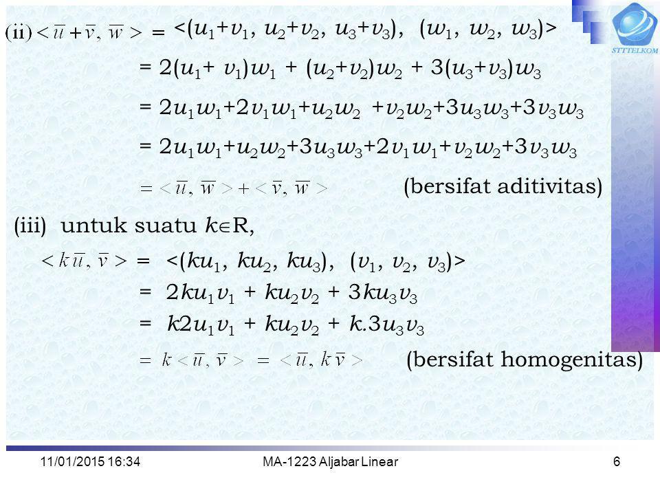 <(u1+v1, u2+v2, u3+v3), (w1, w2, w3)>