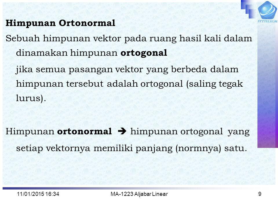 Himpunan ortonormal  himpunan ortogonal yang