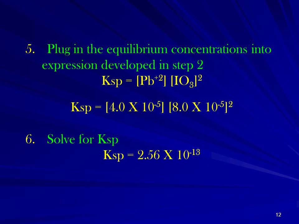 Plug in the equilibrium concentrations into