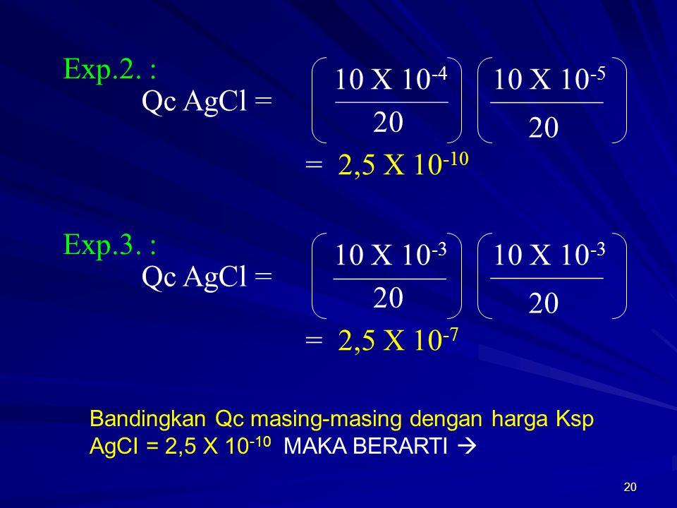 Exp.2. : 10 X 10-4 10 X 10-5 Qc AgCl = 20 20 = 2,5 X 10-10 Exp.3. :
