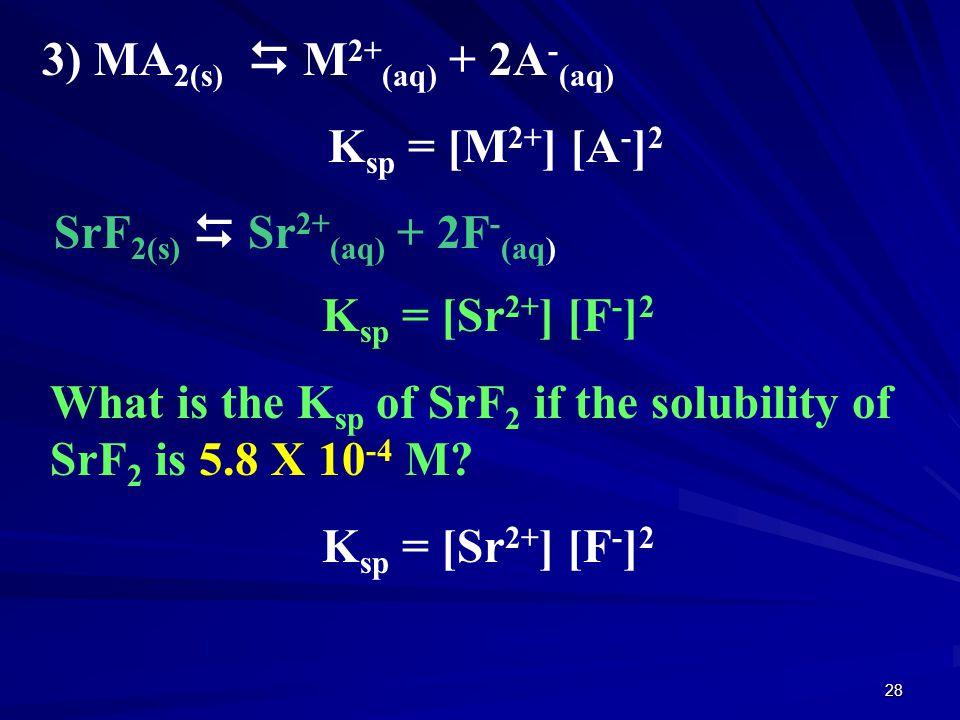 3) MA2(s)  M2+(aq) + 2A-(aq)