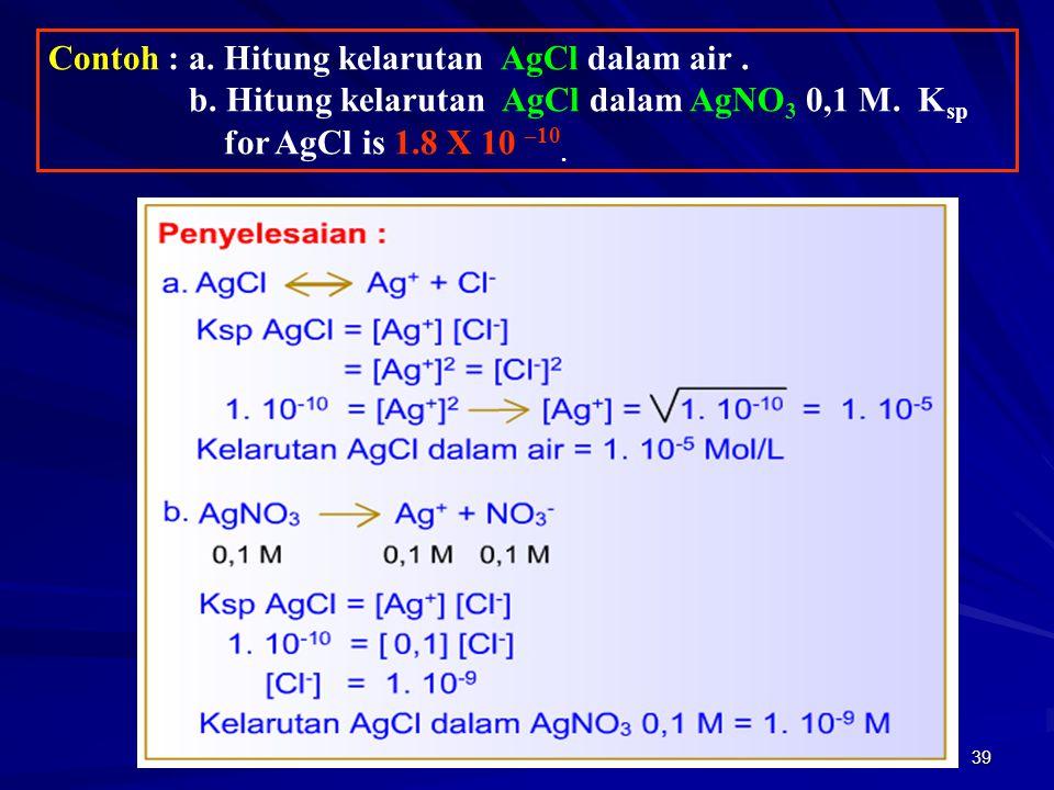 Contoh : a. Hitung kelarutan AgCl dalam air .