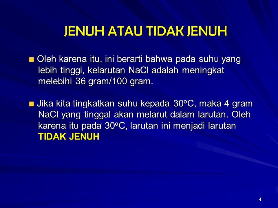 JENUH ATAU TIDAK JENUH Oleh karena itu, ini berarti bahwa pada suhu yang. lebih tinggi, kelarutan NaCl adalah meningkat.