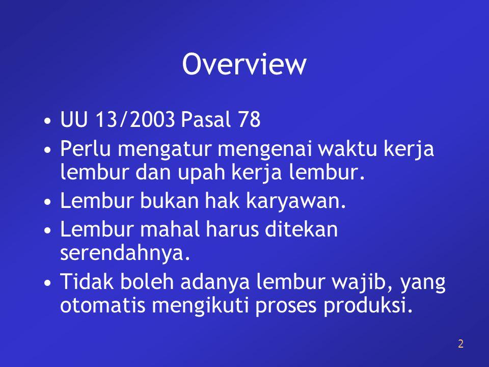 Overview UU 13/2003 Pasal 78. Perlu mengatur mengenai waktu kerja lembur dan upah kerja lembur. Lembur bukan hak karyawan.