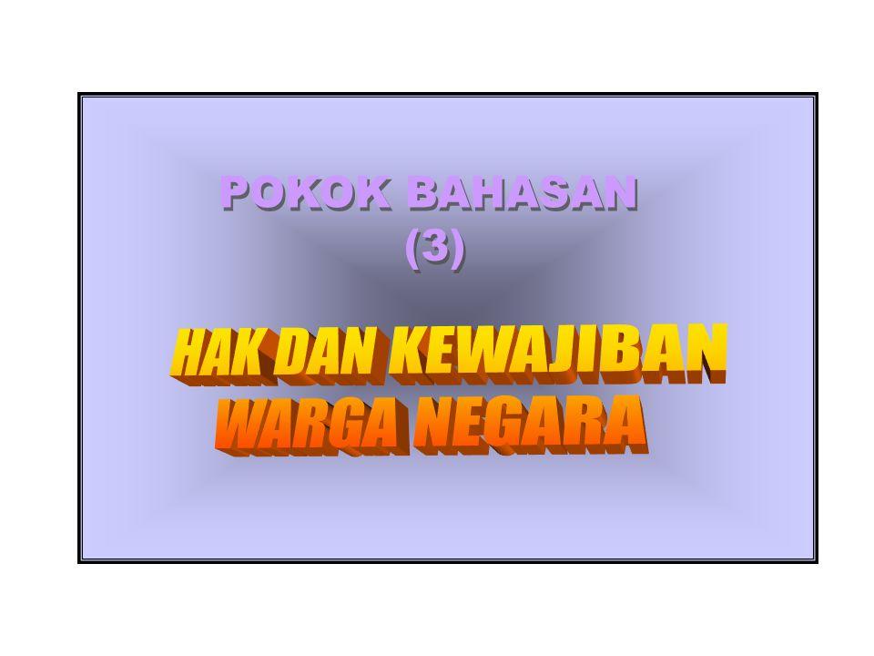 POKOK BAHASAN (3) HAK DAN KEWAJIBAN WARGA NEGARA