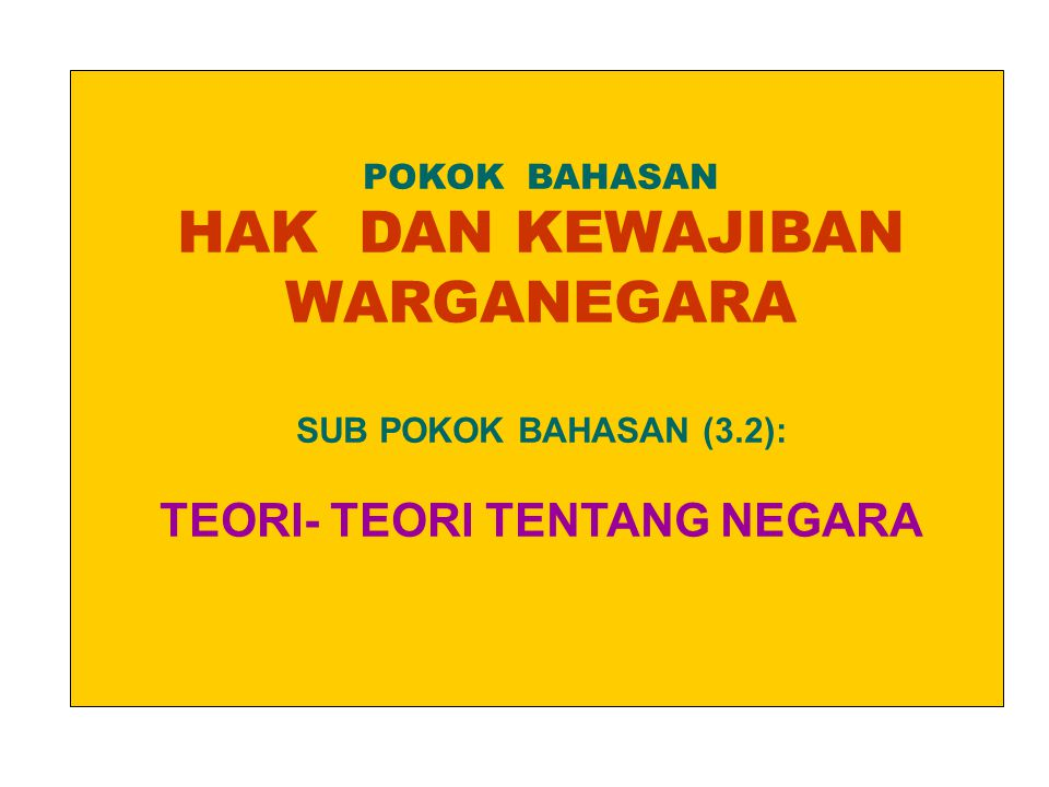 POKOK BAHASAN HAK DAN KEWAJIBAN WARGANEGARA SUB POKOK BAHASAN (3.2): TEORI- TEORI TENTANG NEGARA.
