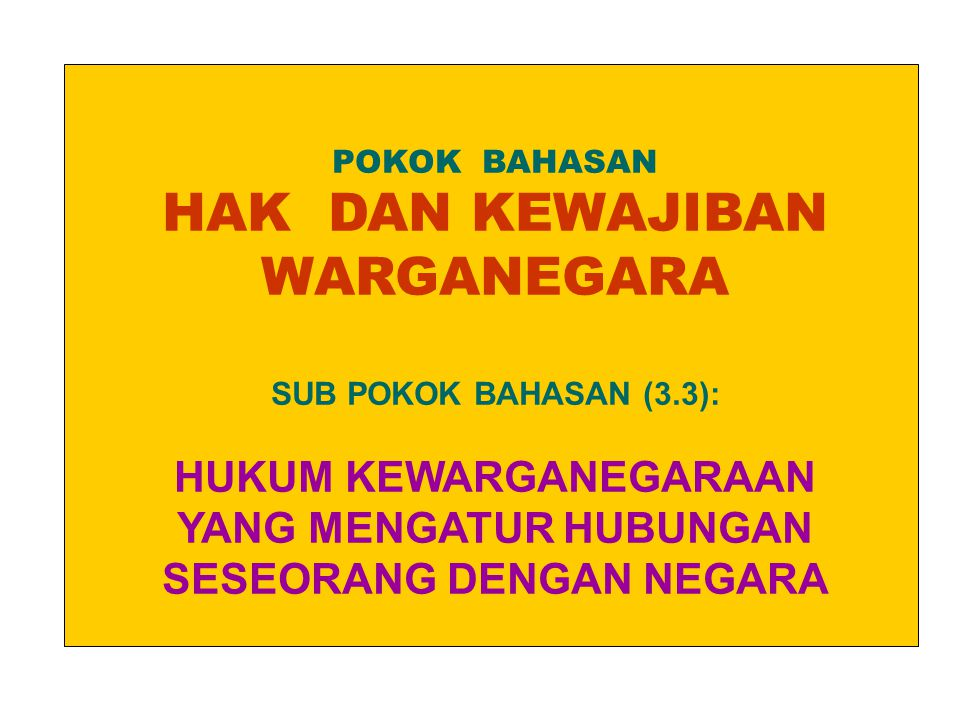 POKOK BAHASAN HAK DAN KEWAJIBAN WARGANEGARA SUB POKOK BAHASAN (3.3): HUKUM KEWARGANEGARAAN YANG MENGATUR HUBUNGAN SESEORANG DENGAN NEGARA.