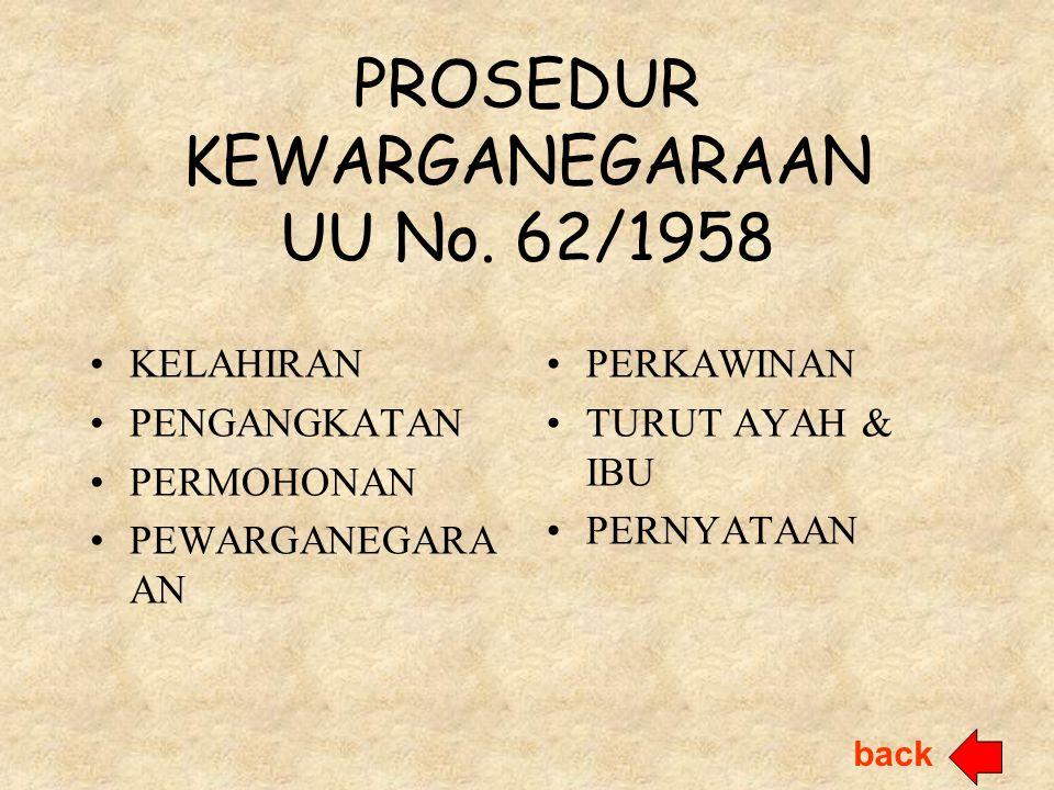 PROSEDUR KEWARGANEGARAAN UU No. 62/1958