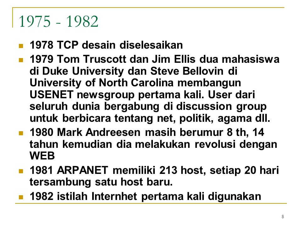 1975 - 1982 1978 TCP desain diselesaikan