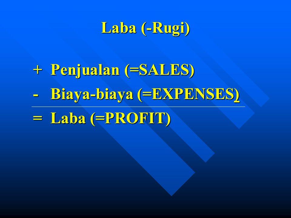Laba (-Rugi) + Penjualan (=SALES) - Biaya-biaya (=EXPENSES) = Laba (=PROFIT)