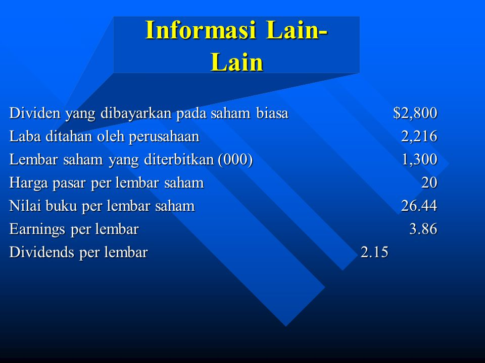 Informasi Lain-Lain Dividen yang dibayarkan pada saham biasa $2,800
