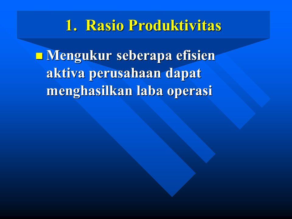 1. Rasio Produktivitas Mengukur seberapa efisien aktiva perusahaan dapat menghasilkan laba operasi