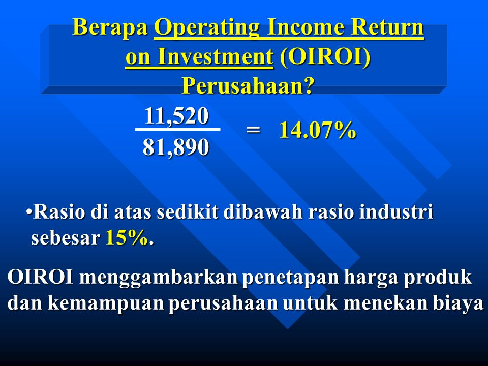 Berapa Operating Income Return on Investment (OIROI) Perusahaan
