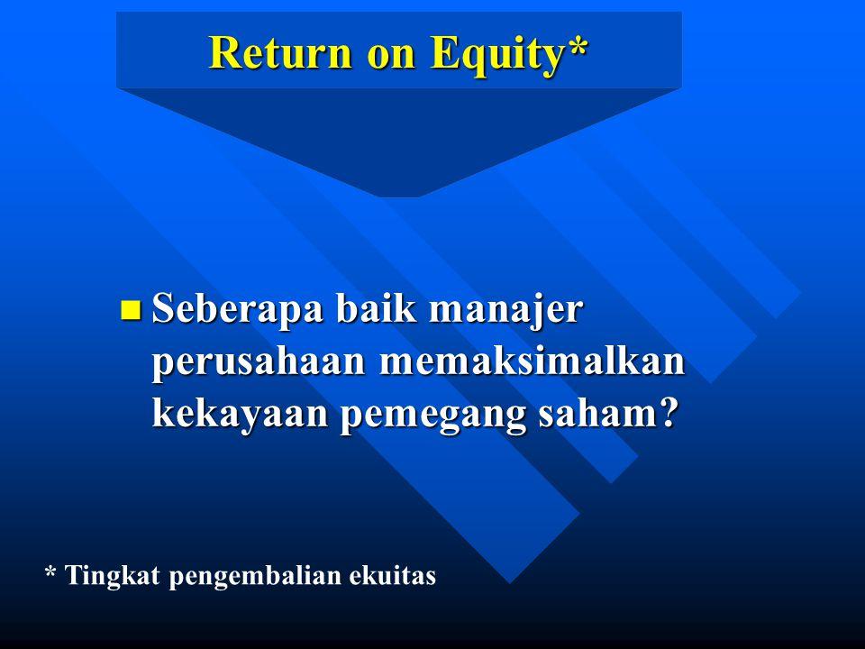 Return on Equity* Seberapa baik manajer perusahaan memaksimalkan kekayaan pemegang saham.