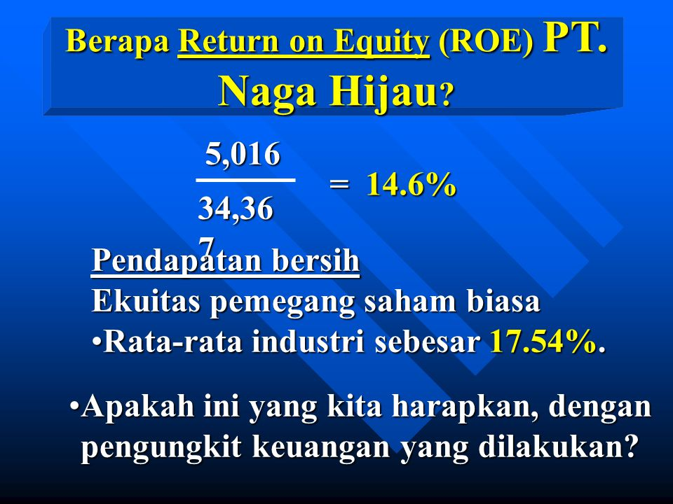 Berapa Return on Equity (ROE) PT. Naga Hijau