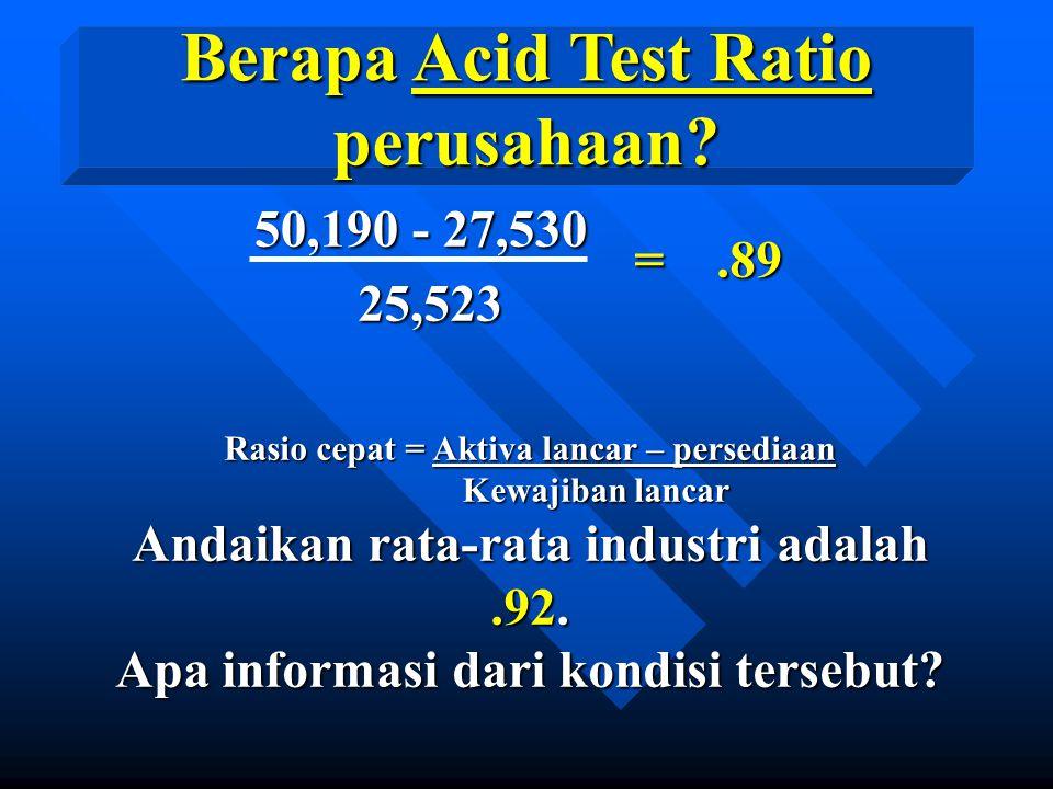 Berapa Acid Test Ratio perusahaan