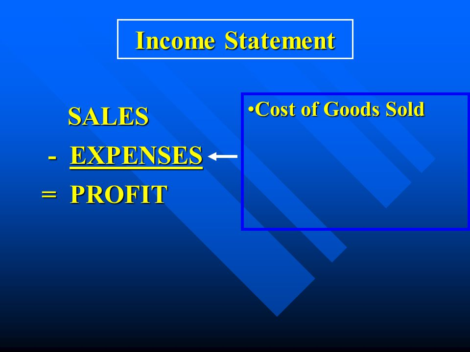 Income Statement Cost of Goods Sold SALES - EXPENSES = PROFIT