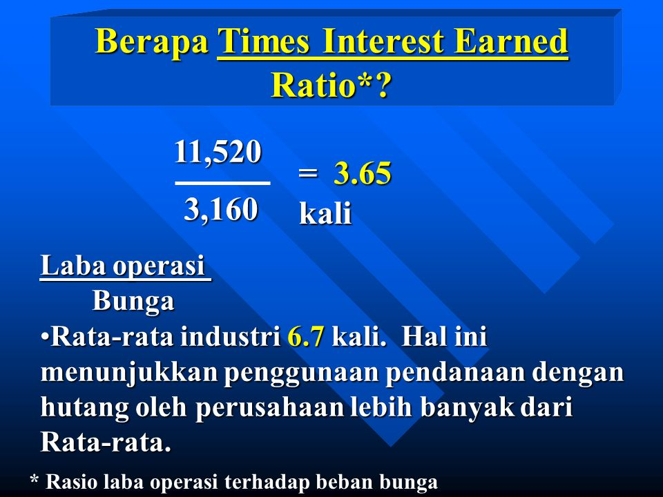 Berapa Times Interest Earned Ratio*