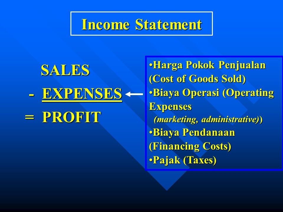 Income Statement SALES - EXPENSES = PROFIT
