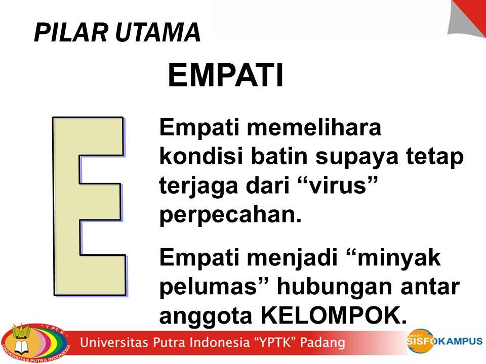 PILAR UTAMA EMPATI. Empati memelihara kondisi batin supaya tetap terjaga dari virus perpecahan. E.