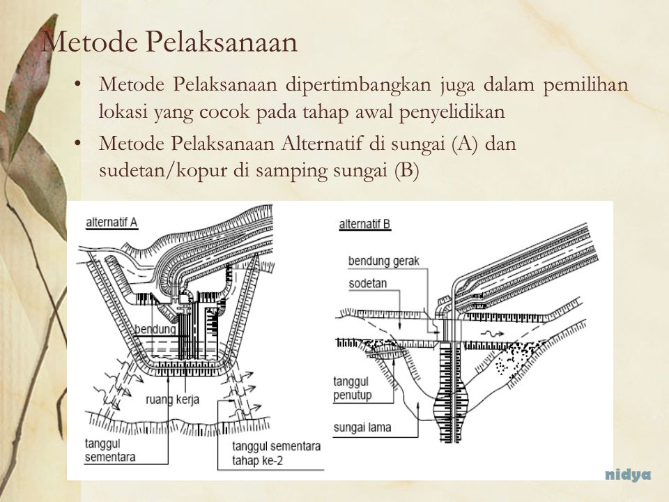 Metode Pelaksanaan Metode Pelaksanaan dipertimbangkan juga dalam pemilihan lokasi yang cocok pada tahap awal penyelidikan.
