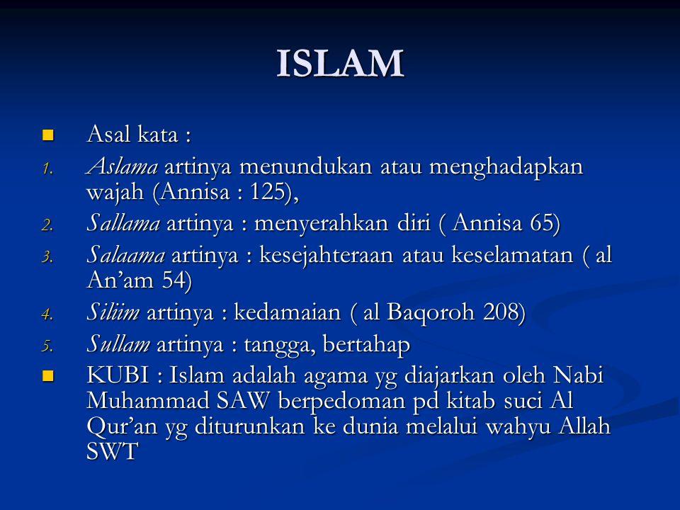 ISLAM Asal kata : Aslama artinya menundukan atau menghadapkan wajah (Annisa : 125), Sallama artinya : menyerahkan diri ( Annisa 65)