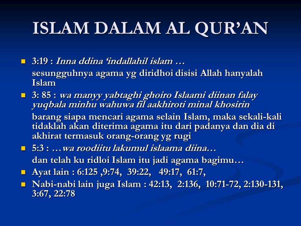 ISLAM DALAM AL QUR'AN 3:19 : Inna ddina 'indallahil islam …