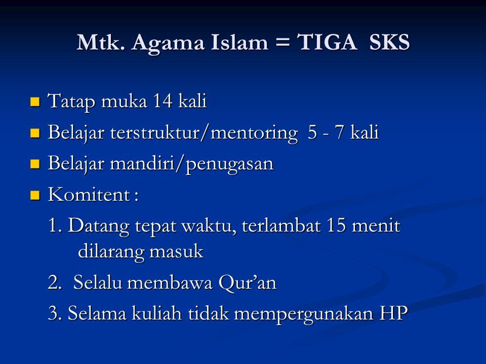 Mtk. Agama Islam = TIGA SKS