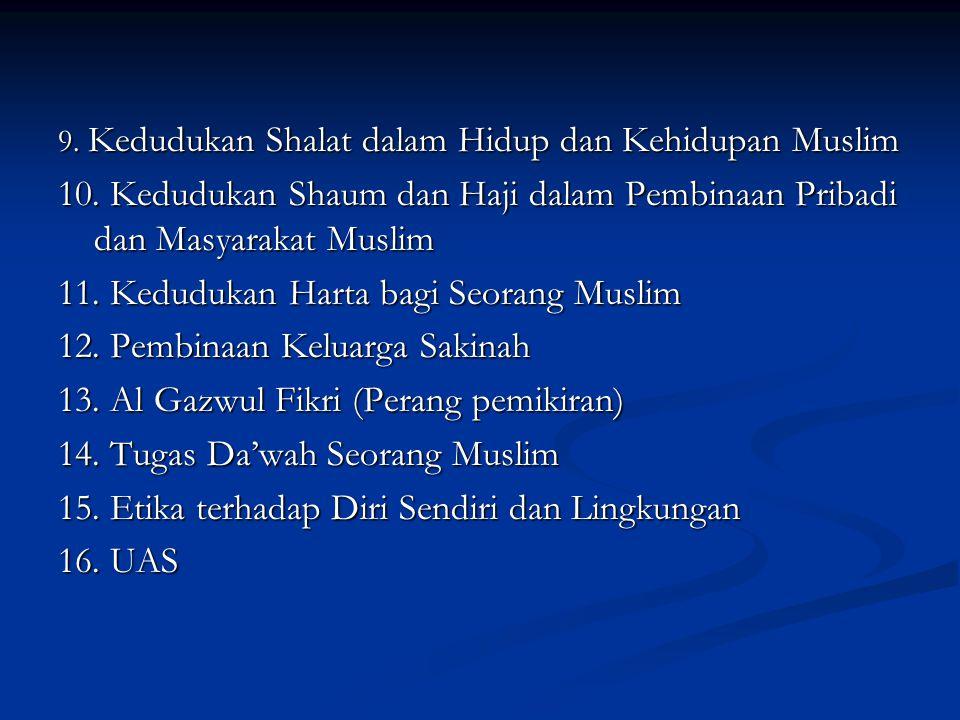 11. Kedudukan Harta bagi Seorang Muslim 12. Pembinaan Keluarga Sakinah