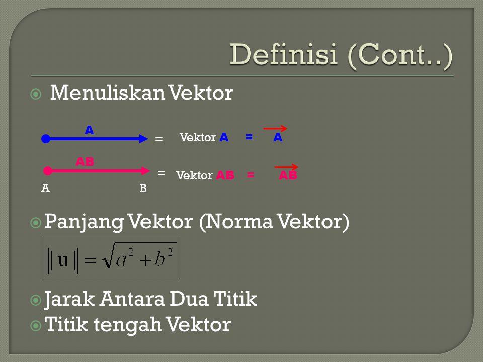 Definisi (Cont..) Menuliskan Vektor Panjang Vektor (Norma Vektor)