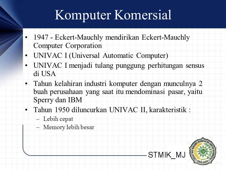 Komputer Komersial 1947 - Eckert-Mauchly mendirikan Eckert-Mauchly Computer Corporation. UNIVAC I (Universal Automatic Computer)