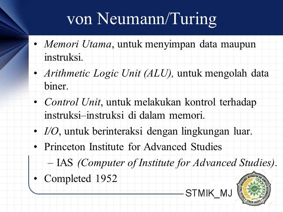 von Neumann/Turing Memori Utama, untuk menyimpan data maupun instruksi. Arithmetic Logic Unit (ALU), untuk mengolah data biner.