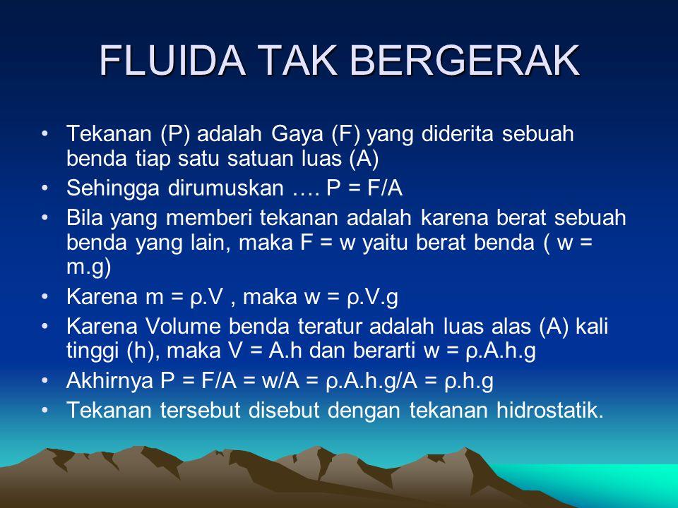 FLUIDA TAK BERGERAK Tekanan (P) adalah Gaya (F) yang diderita sebuah benda tiap satu satuan luas (A)