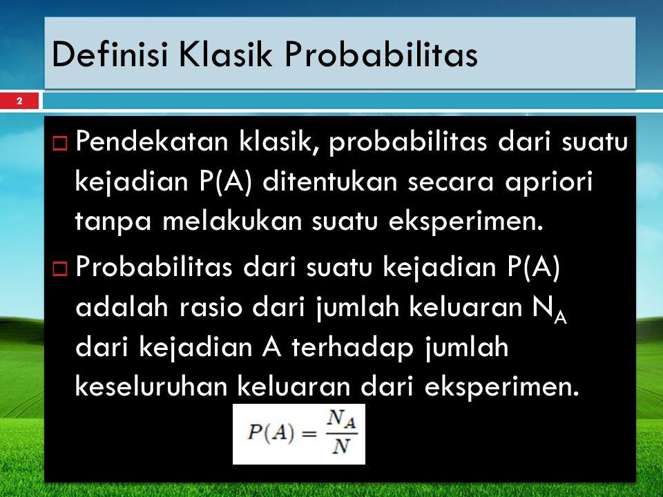 Definisi Klasik Probabilitas
