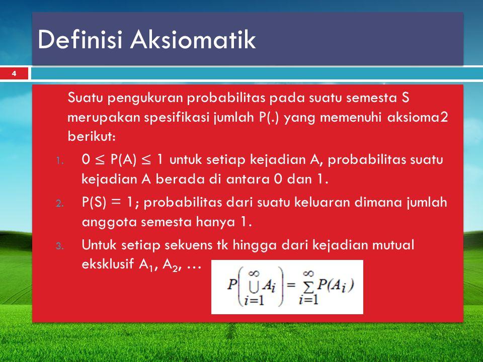 Definisi Aksiomatik Suatu pengukuran probabilitas pada suatu semesta S merupakan spesifikasi jumlah P(.) yang memenuhi aksioma2 berikut: