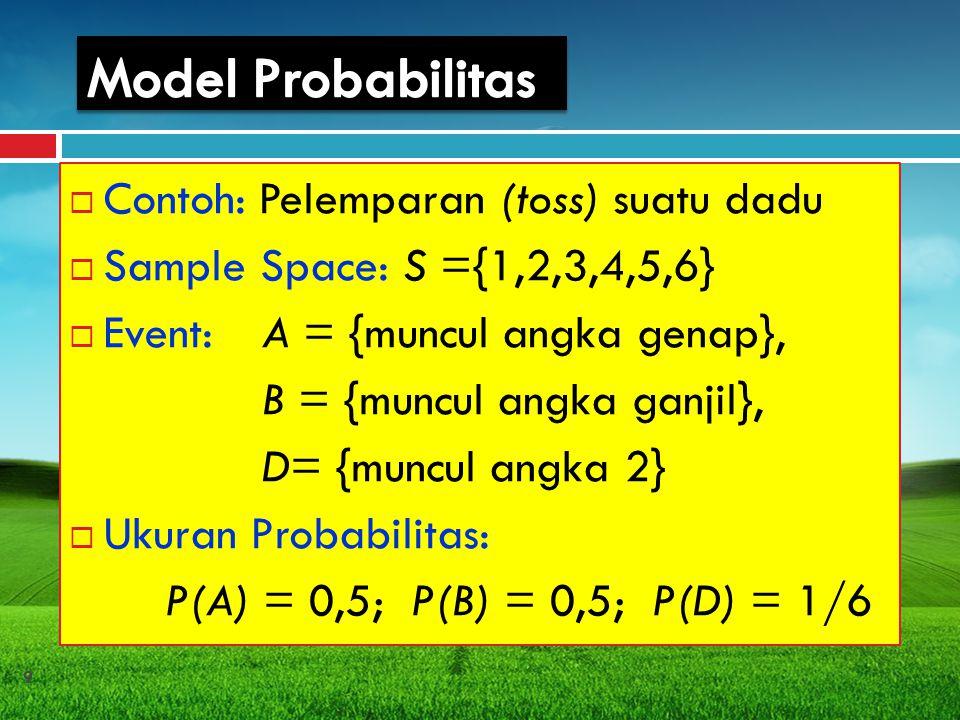 Model Probabilitas Contoh: Pelemparan (toss) suatu dadu