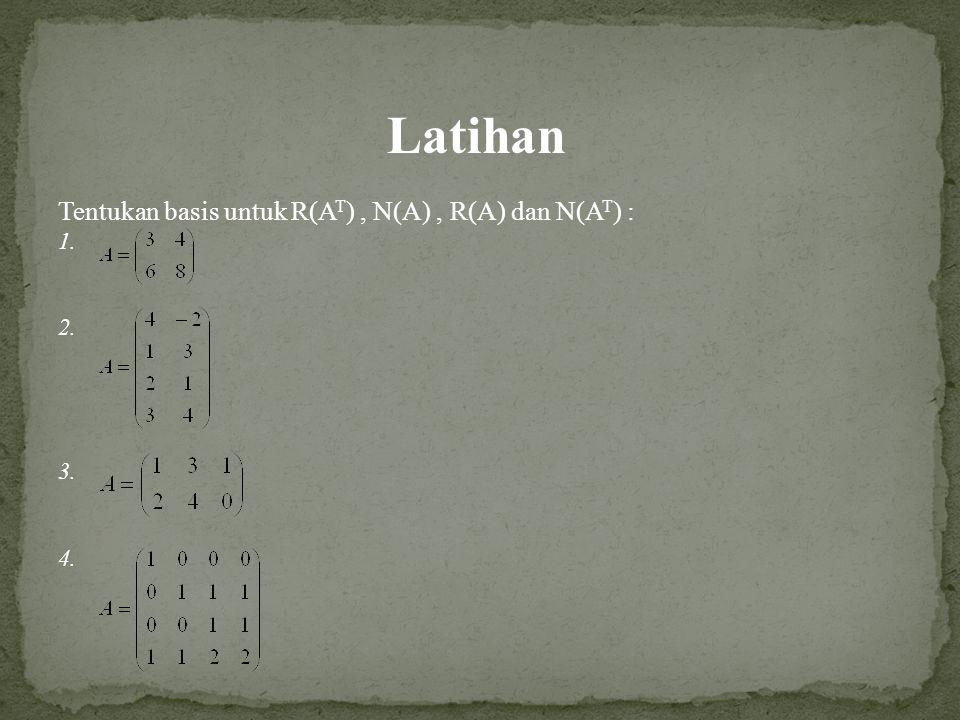 Latihan Tentukan basis untuk R(AT) , N(A) , R(A) dan N(AT) : 1. 2. 3.