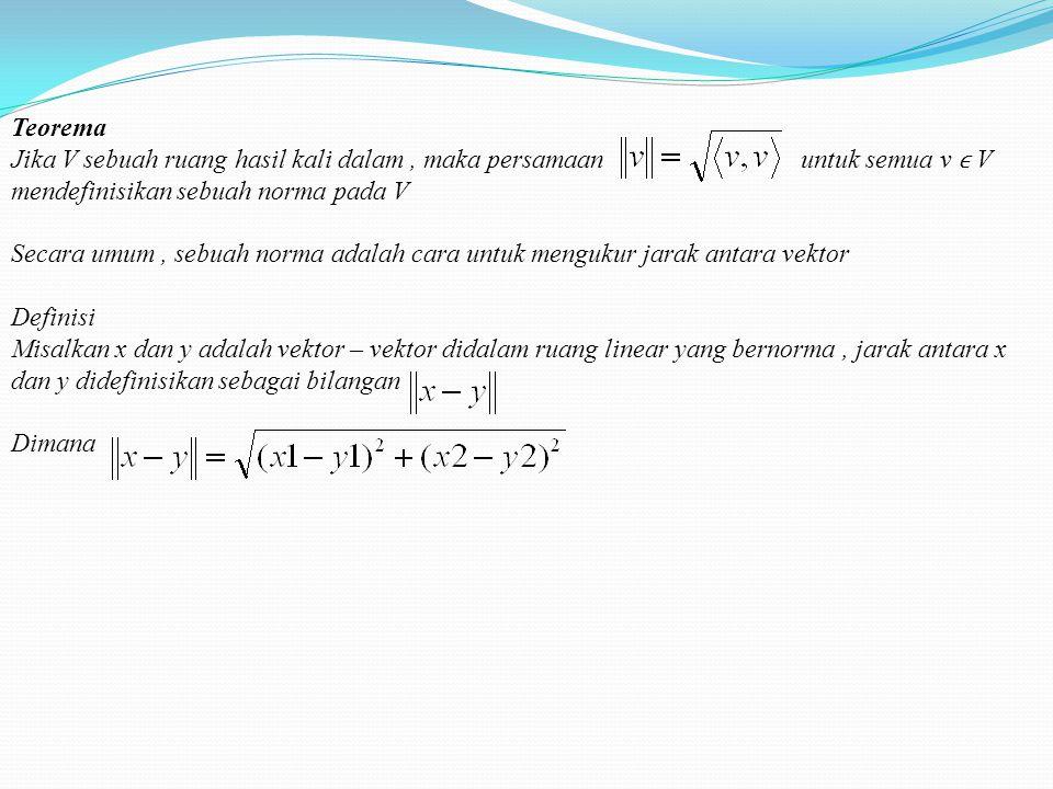 Teorema Jika V sebuah ruang hasil kali dalam , maka persamaan untuk semua v ϵ V mendefinisikan sebuah norma pada V.