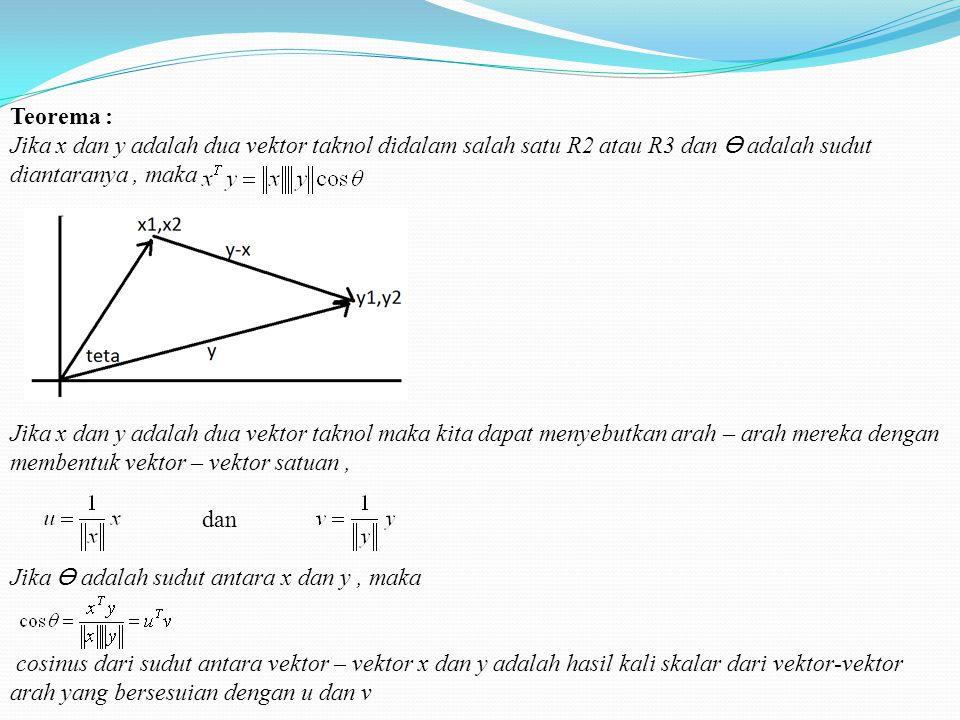 Teorema : Jika x dan y adalah dua vektor taknol didalam salah satu R2 atau R3 dan ϴ adalah sudut diantaranya , maka.