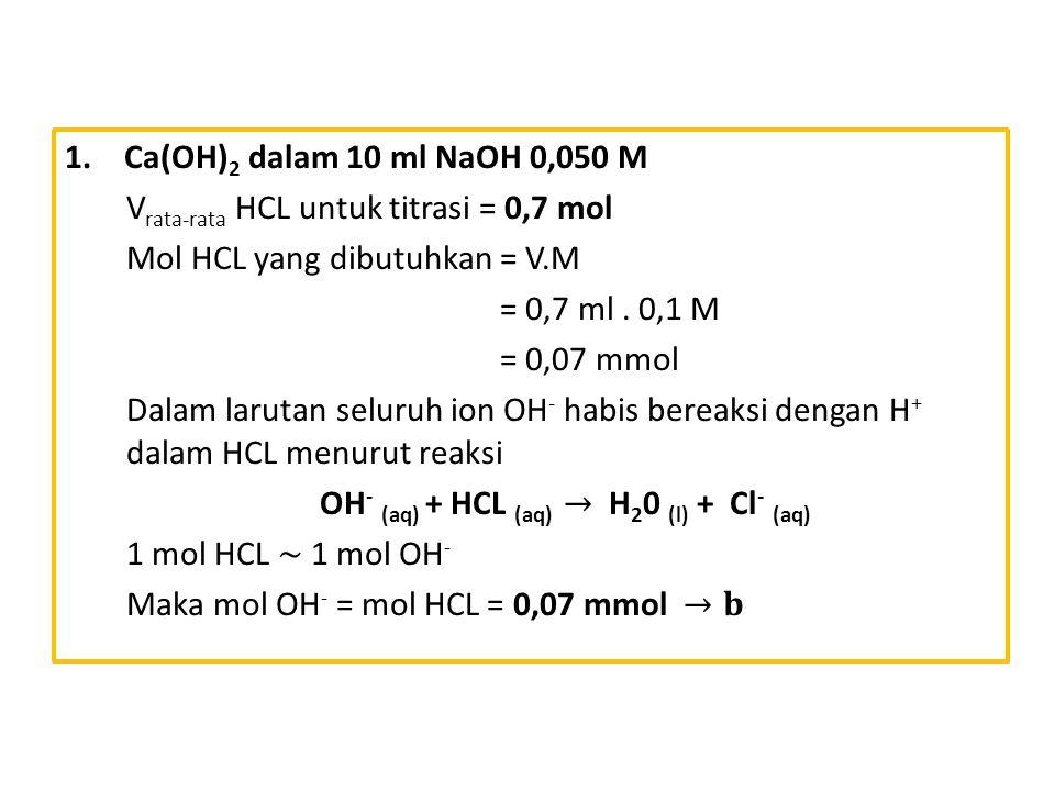 OH- (aq) + HCL (aq) → H20 (l) + Cl- (aq)
