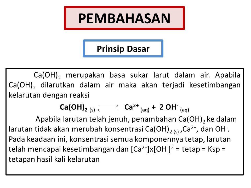 Ca(OH)2 (s) Ca2+ (aq) + 2 OH- (aq)