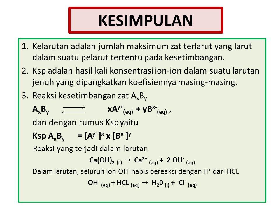 KESIMPULAN 1. Kelarutan adalah jumlah maksimum zat terlarut yang larut dalam suatu pelarut tertentu pada kesetimbangan.