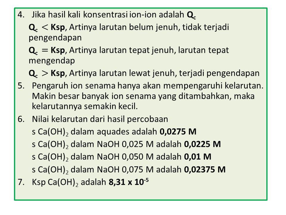 4. Jika hasil kali konsentrasi ion-ion adalah Qc