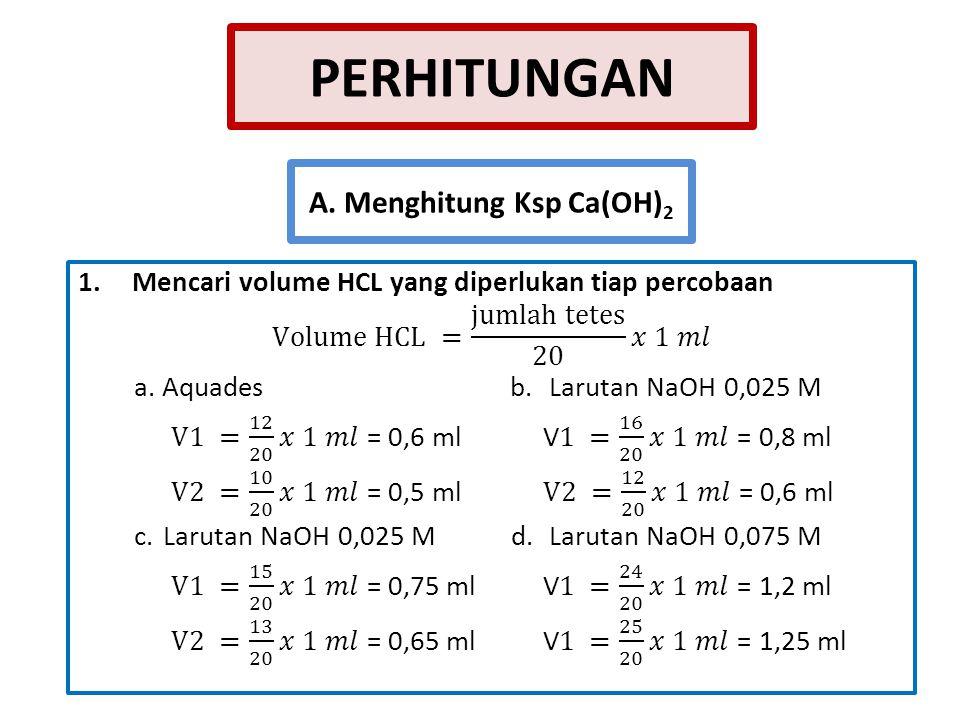 A. Menghitung Ksp Ca(OH)2