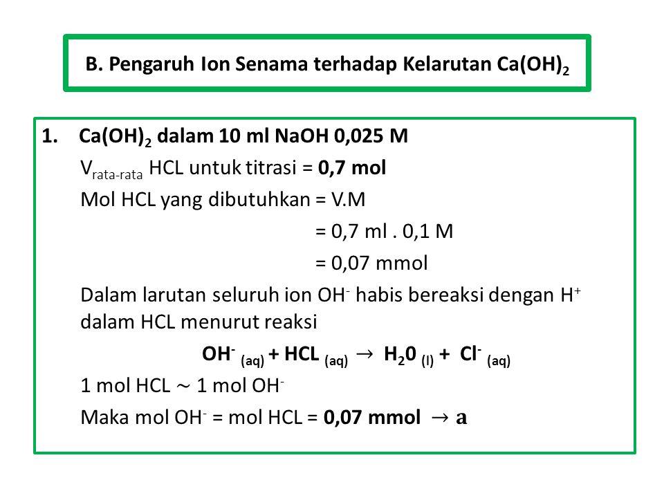 B. Pengaruh Ion Senama terhadap Kelarutan Ca(OH)2
