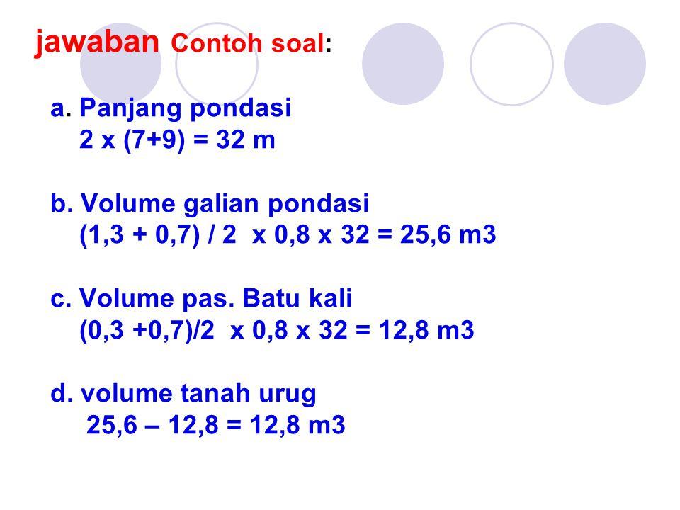 jawaban Contoh soal: a. Panjang pondasi 2 x (7+9) = 32 m b