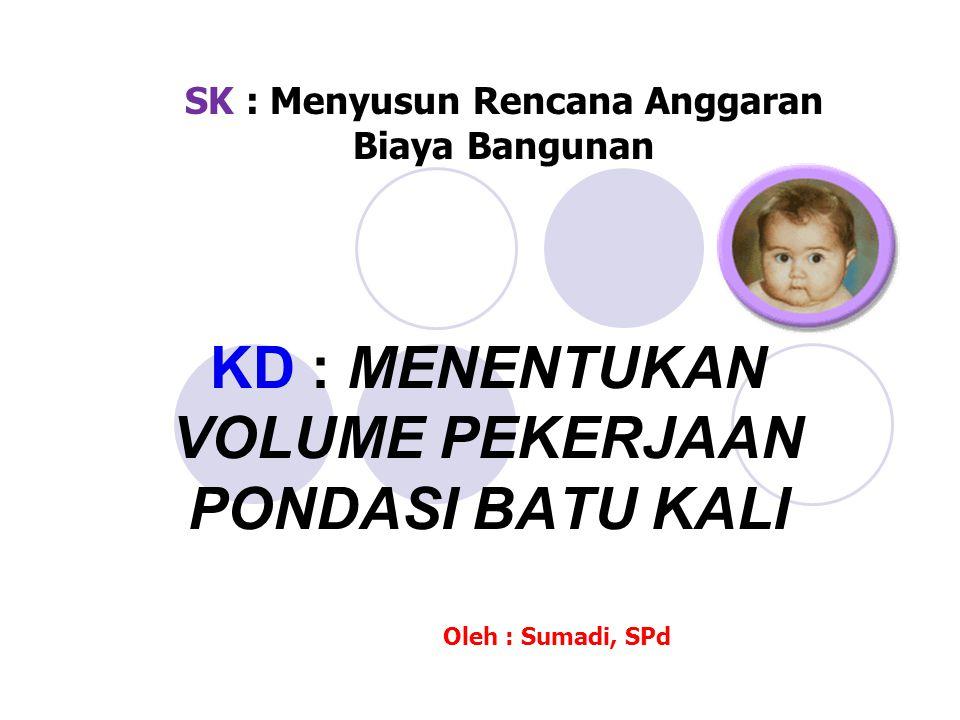 KD : MENENTUKAN VOLUME PEKERJAAN PONDASI BATU KALI