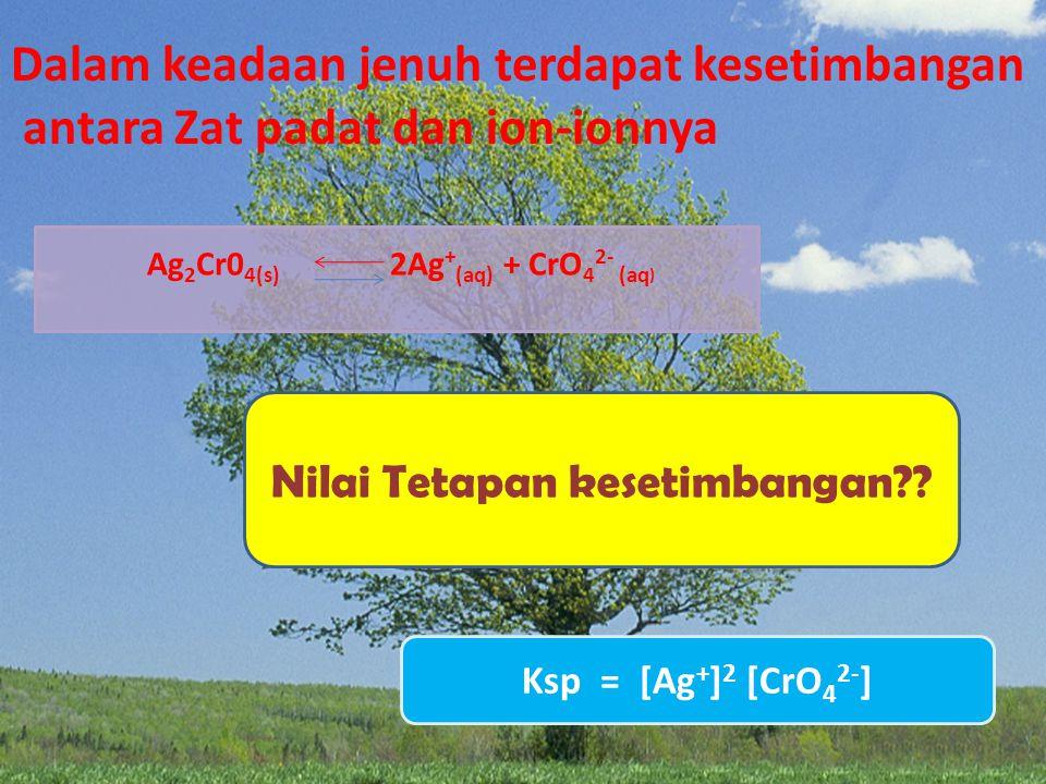 Ag2Cr04(s) 2Ag+(aq) + CrO42- (aq) Nilai Tetapan kesetimbangan