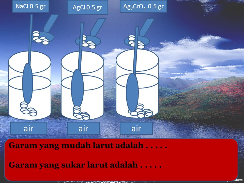 air air air Garam yang mudah larut adalah . . . . .